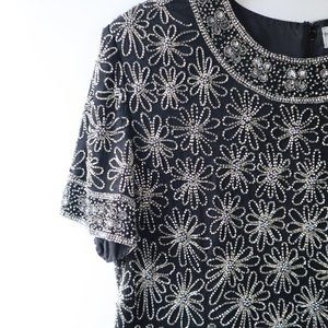 Papell Boutique Black and Silver Rhinestone Blouse